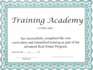 Training Certificate Template – Certificate Templates in Template For Training Certificate