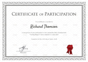 Training Participation Certificate Template intended for Templates For Certificates Of Participation