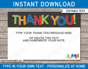 Trampoline Party Thank You Cards Template – Boys in Soccer Thank You Card Template
