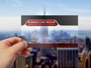 Translucent Plastic Business Card Mockup | Photoshop Mockups for Transparent Business Cards Template