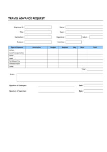 Travel Advance Request For Travel Request Form Template Word
