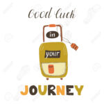 Travel Card Template With Suitcase. Greeting Postcard With Hand.. With Good Luck Card Templates