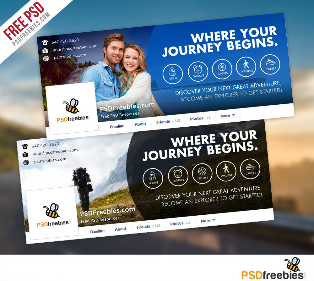 Travel Facebook Timeline Covers Free Psd Templates With Facebook Banner Template Psd