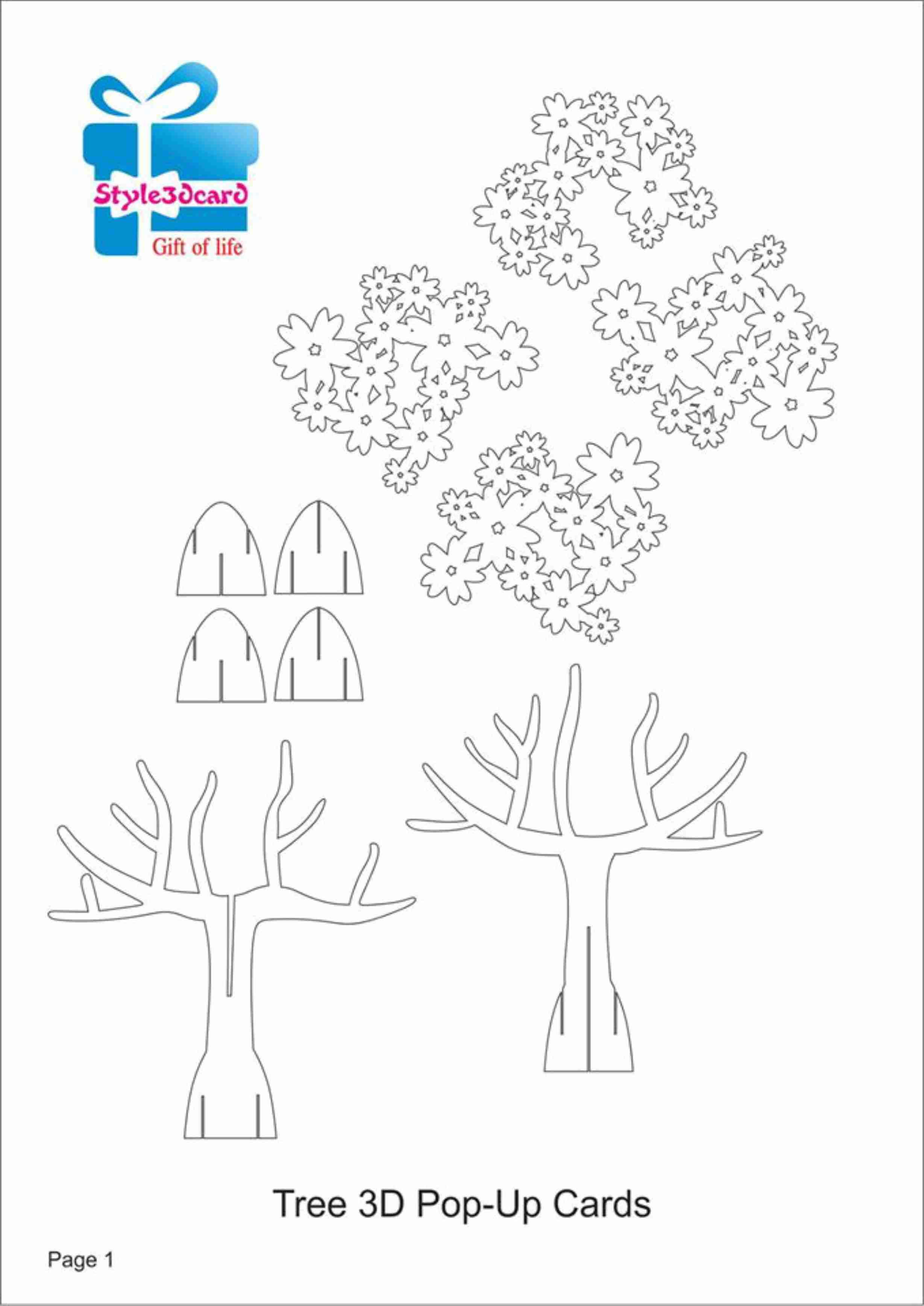 Tree 3D Pop Up Card/ Kirigami Pattern 1 | Kirigami Art | Pop With Regard To Pop Up Tree Card Template