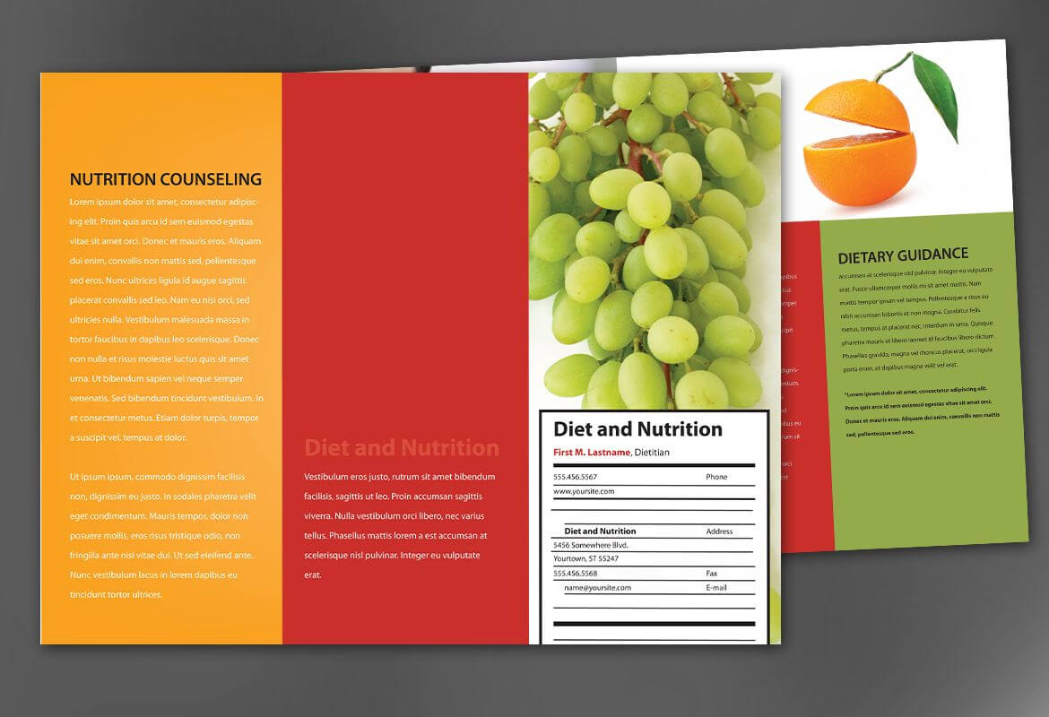 Tri Fold Brochure Template For Health And Nutrition. Order For Nutrition Brochure Template