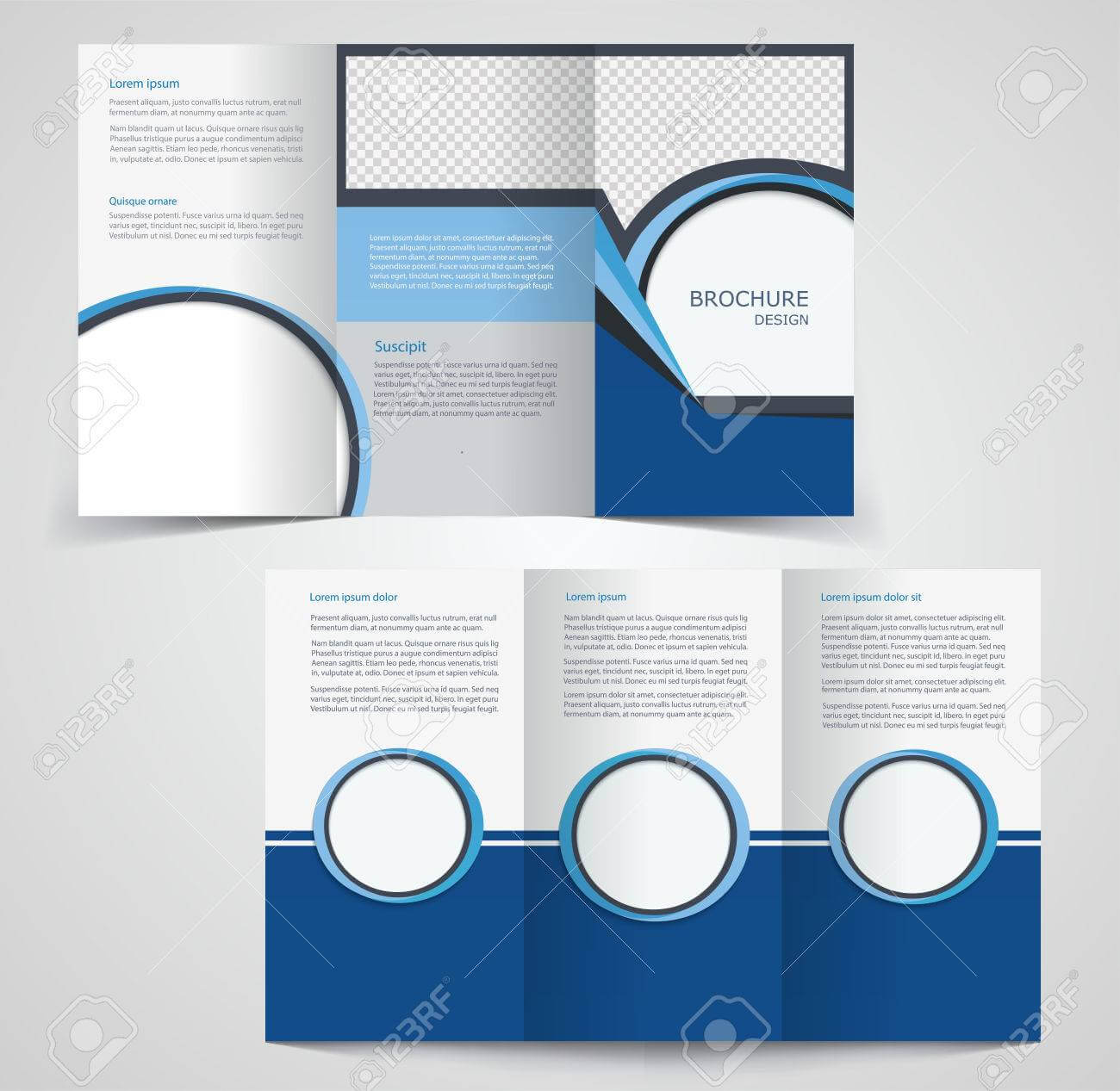 Tri Fold Business Brochure Template, Two Sided Template Design,.. With Double Sided Tri Fold Brochure Template