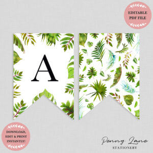 Tropical Greenery Baby Shower Bunting Flag Banner | Nursery with Diy Baby Shower Banner Template