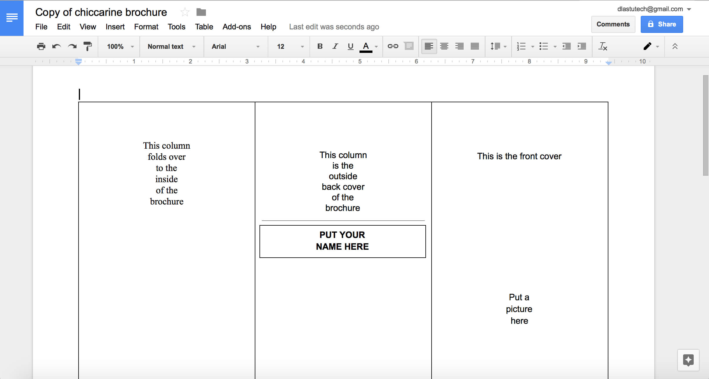 Tutorial: Making A Brochure Using Google Docs From A With Regard To Google Docs Brochure Template
