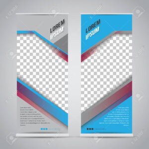 Twin Blue Roll Up Banner Stand Design Template in Banner Stand Design Templates