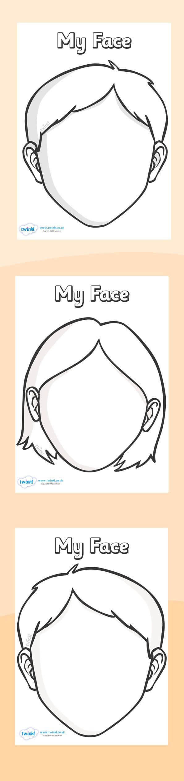 Twinkl Resources >> Blank Face Templates With Face Features In Blank Face Template Preschool