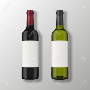 Two Realistic Vector Wine Bottles In Top View With Blank Labels.. within Blank Wine Label Template
