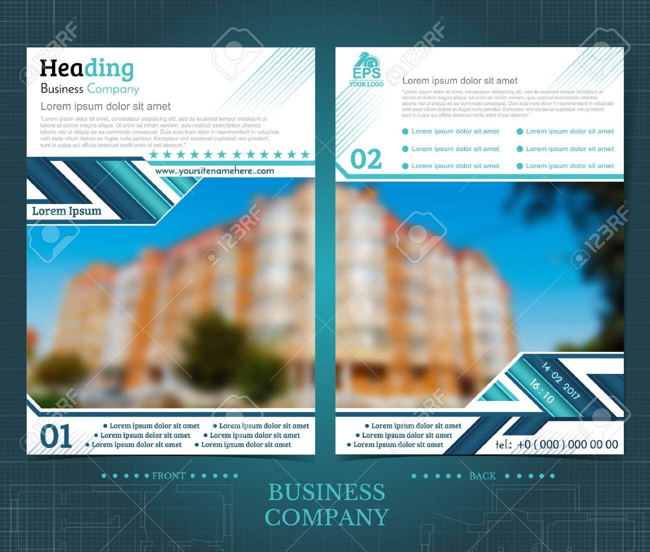 Two Sided Brochure Or Flayer Template Design With One Blurred.. Throughout One Sided Brochure Template