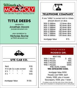 Ultimate Monopoly Title Deeds (Printable)Jonizaak On regarding Monopoly Property Card Template