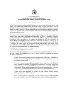 Un Special Rapporteur pertaining to Rapporteur Report Template