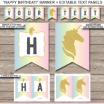 Unicorn Pennant Banner Template | Unicorn | Pennant Banner Throughout Free Happy Birthday Banner Templates Download