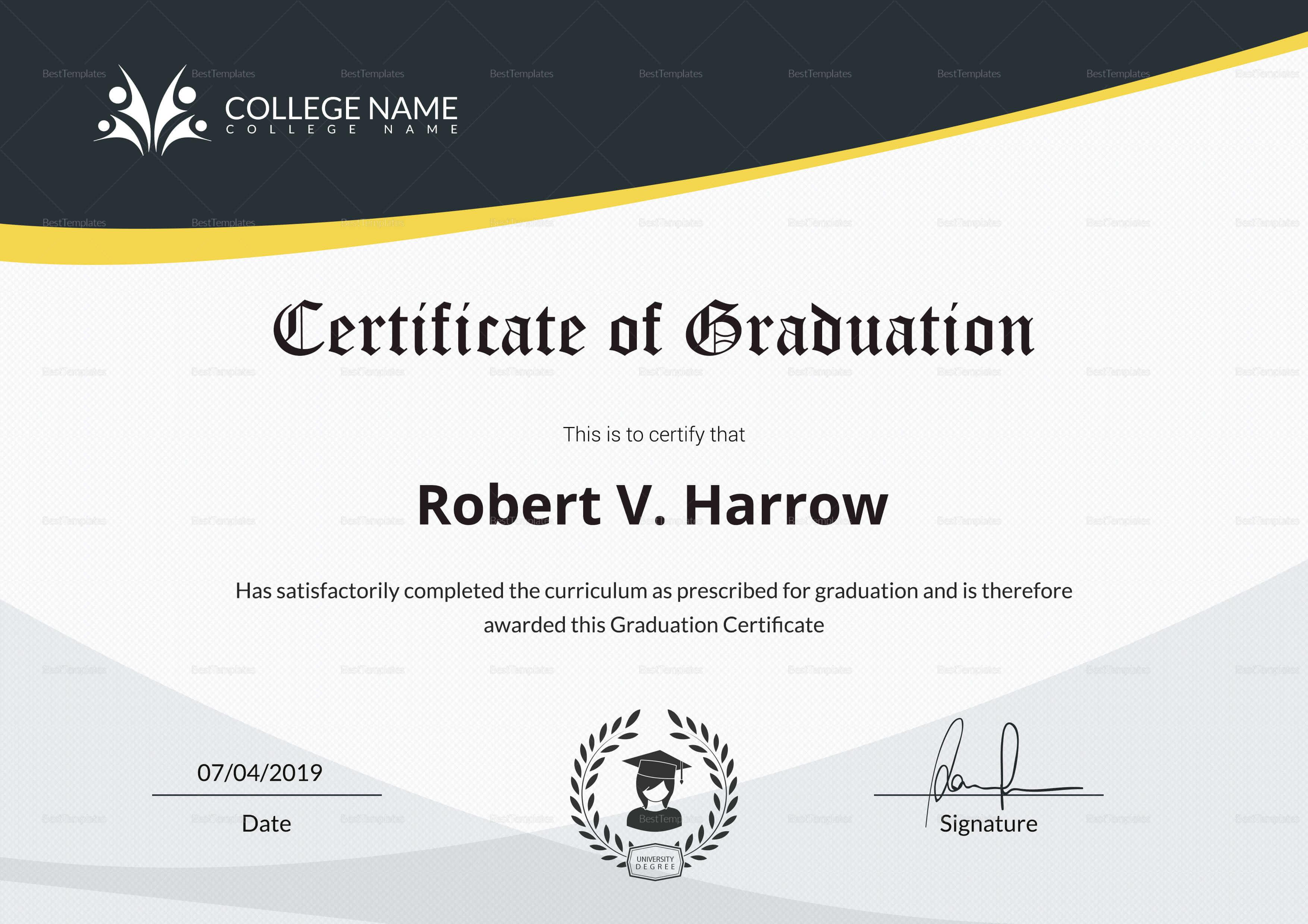 Universal College Graduation Certificate Template With Regard To College Graduation Certificate Template