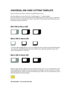 Universal Sim Card Cutting Template Free Pdf – Universal-Sim in Sim Card Template Pdf