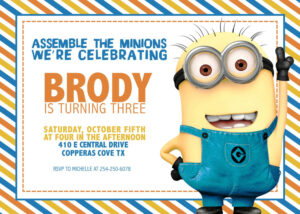Updated! Bunch Of Minion Birthday Party Invitations Ideas throughout Minion Card Template