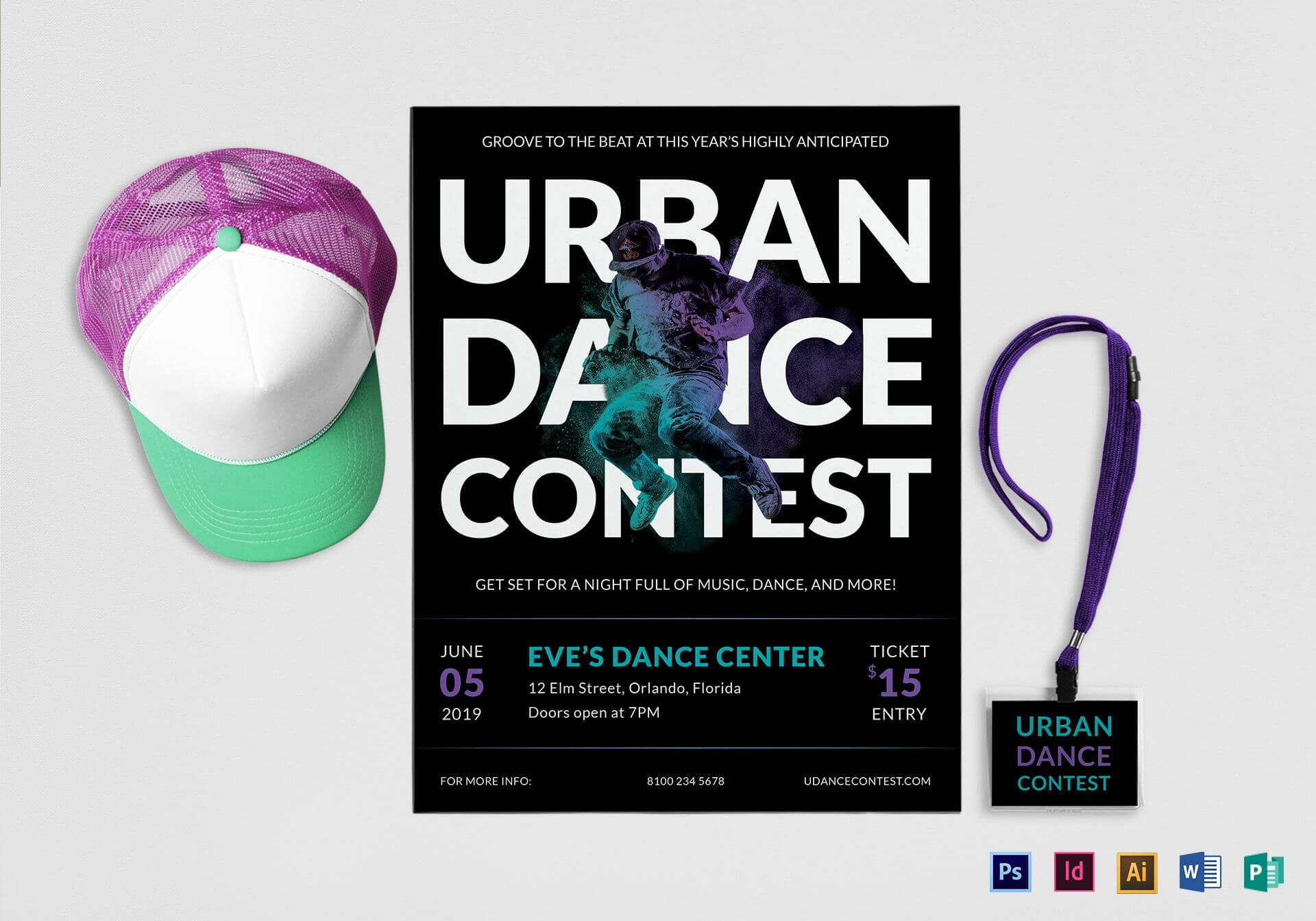 Urban Dance Contest Flyer Template Intended For Dance Flyer Template Word