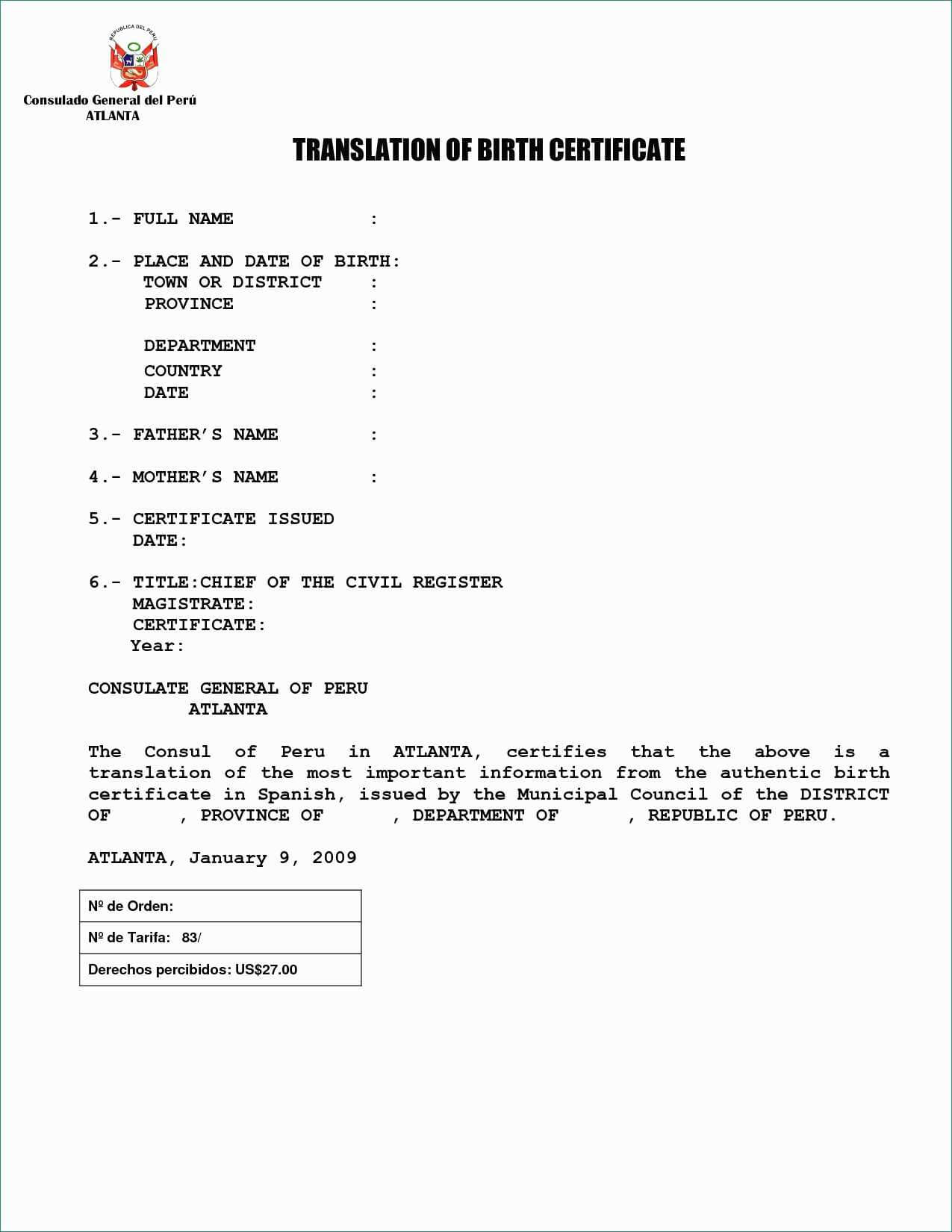 Uscis Marriage Certificate Requirements Intended For Birth Certificate Translation Template Uscis