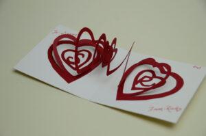 Valentine's Day Pop Up Card: Spiral Heart Tutorial regarding Pop Out Heart Card Template