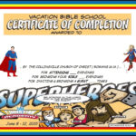 Vbs Certificate Superhero Red Capes | Vbs Lesson Handouts Within Free Vbs Certificate Templates