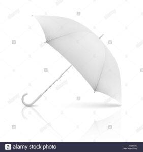 Vector 3D Realistic Render White Blank Umbrella Icon Closeup For Blank Umbrella Template