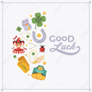 Vector Decorating Design Made Of Lucky Charms, And The Words.. Pertaining To Good Luck Card Templates