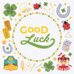 Vector Decorating Design Made Of Lucky Charms, And The Words.. Within Good Luck Card Template