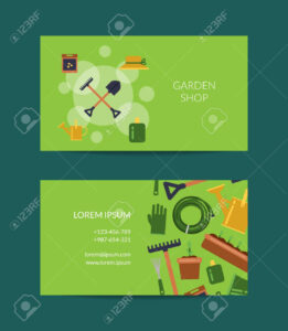 Vector Flat Gardening Icons Business Card Template For Farm And.. in Gardening Business Cards Templates