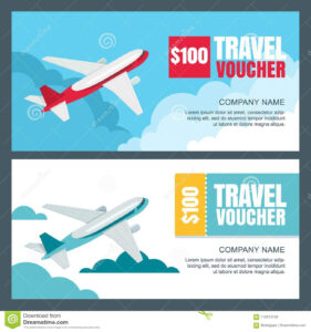 Vector Gift Travel Voucher Template. Flying Airplane In The For Free Travel Gift Certificate Template