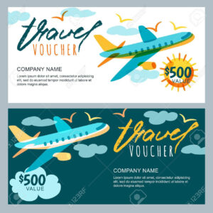 Vector Gift Travel Voucher Template. Multicolor Flying Airplane.. Pertaining To Free Travel Gift Certificate Template