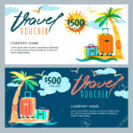 Vector Gift Travel Voucher Template. Tropical Island Landscape.. Pertaining To Free Travel Gift Certificate Template