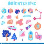 Vector Illustration Of Orienteering Map Signs Stock Vector Regarding Orienteering Control Card Template