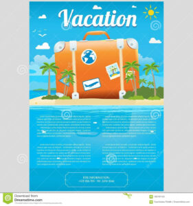 Vector Illustration Of Travel Suitcase On The Sea Island within Island Brochure Template