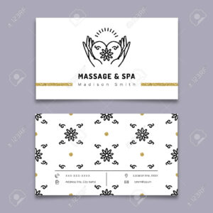 Vector Massage And Spa Therapy Business Card Template. Trendy.. inside Massage Therapy Business Card Templates