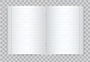Vector Opened Realistic Lined Elementary School Copybook for Staples Banner Template