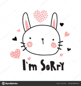 Vector Template Greeting Card Sorry Text Cute Bunny with Sorry Card Template