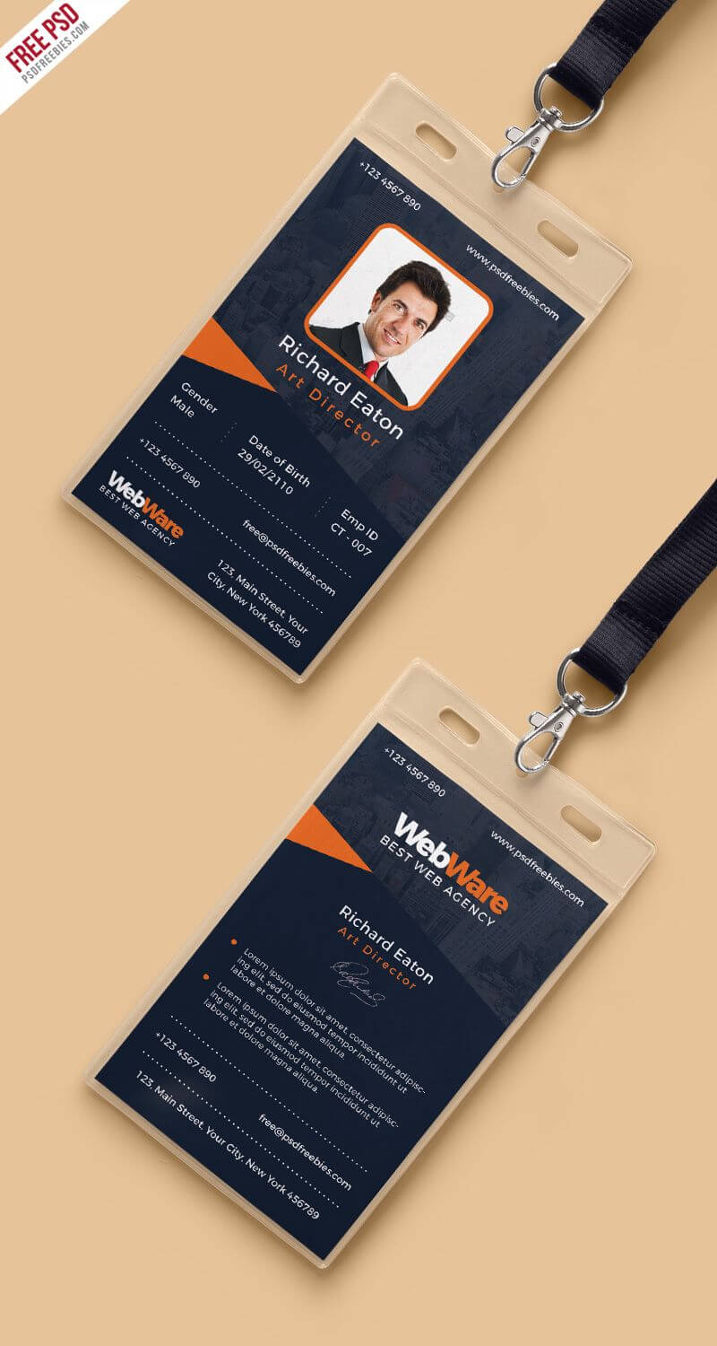Vertical Company Identity Card Template Psd | Psd Print Intended For Company Id Card Design Template