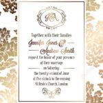 Vintage Baroque Style Wedding Invitation Card Template.. Elegant.. Within Church Wedding Invitation Card Template