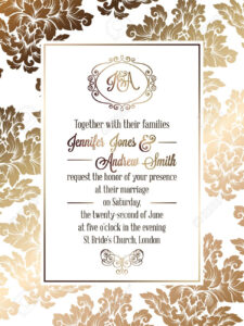 Vintage Baroque Style Wedding Invitation Card Template.. Elegant.. within Church Wedding Invitation Card Template