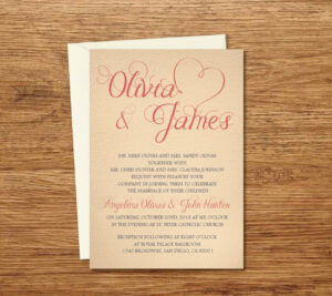 Vintage Custom Wedding Invitation Printable Template/e-Card for Wedding Card Size Template