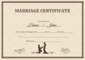 Vintage Marriage Certificate Design Template In Psd, Word In in Certificate Of Marriage Template