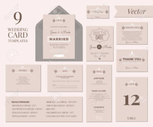 Vintage Minimal Wedding Invitation Card Collection Set Template.. regarding Wedding Card Size Template