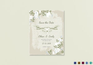 Vintage Save The Date Card Template in Save The Date Template Word