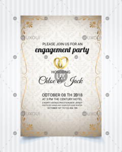 Vintage Style Wedding Engagement Party Invitation Card Template Design  Vector in Engagement Invitation Card Template