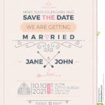 Vintage Wedding Invitation Card Template Stock Vector Intended For Church Wedding Invitation Card Template