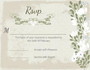 Vintage Wedding Rsvp Card Template intended for Template For Rsvp Cards For Wedding