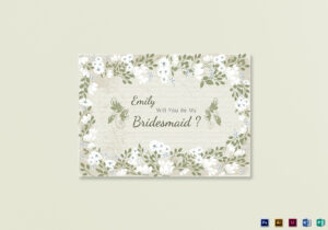 Vintage Will You Be My Bridesmaid Card Template inside Will You Be My Bridesmaid Card Template