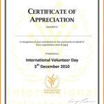 Volunteer Appreciation Certificate Template Certification Of In Volunteer Certificate Template